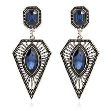 Long Drop Earrings Large Silver Blue Crystal Statement Party Triangle Indian UK