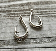 5 Large Fish Hook Pendants Charms Pendants Antiqued Silver Fishing Charms Fish