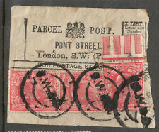 King Edward VII - SG 219 - 1d Scarlet x3 - One with Selvedge on Paper