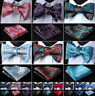 Men's Silk Self Bow Tie Pocket Square Set Classic Paisley Bow Tie Wedding #J04
