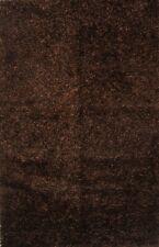 Plush Mocha Brown Modern Shaggy Oriental Hand-Knotted 5'x8' Area Rug