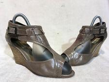 Dune Brown Leather Peep Toe Strap Wedge Heel Sandals UK 5 EU 38