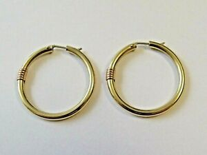 9ct Yellow & Rose Gold Gold Hoop Earrings 30mm Hallmarked Made In Italy