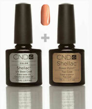 CND Shellac Set Base coat + Top coat + Salmon Run Top Qualität Gel Kit UV LED