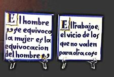 "Pair Vintage ''Spanish Quotes'' Hand-painted Decor Spain 6""x 6"" Ceramic Tiles"