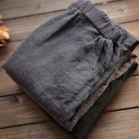 Women Summer Cotton Linen Elastic Waist Loose Ladies Casual Pants Trousers 2018