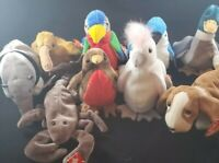 Lot Of Beanie Babies Tracker, Kuku, Beak,  Jabber and More 9 in all
