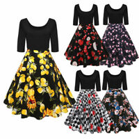 Plus Size 50s Lemon/Floral Rockabilly Swing Housewife Party Evening Retro Dress