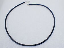 """Black Braided Leather Cord Necklace Sterling Silver Clasp 18"""" Long 3mm Diameter"""