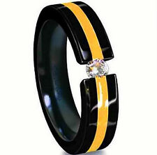 Titanium Tension Black Plated Solitaire RING with Golden Accent, CZ, sizes 9, 10