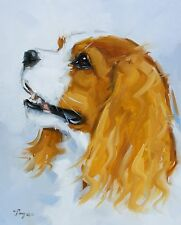 Original Oil painting - portrait - cavalier king charles spaniel dog  - j payne