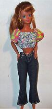 Barbie Denim Capri Pants Capris with White Stitching & Slits + Print Cotton Top