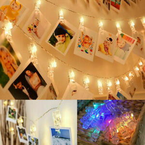 30 LED Hanging Picture Photo Peg Clip Fairy String Lights Party Bedroom Decor UK
