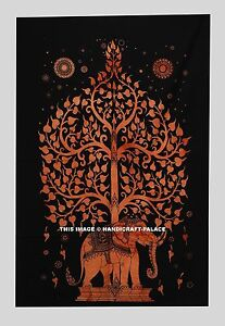 Psychedelic Tree Of Life Wall Hanging Elephant Tapestry Cotton Indian Handmade
