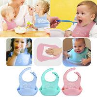 Waterproof Baby Silicone Bibs Feeding Bib Kids Roll up Food Catcher Pocket PAN