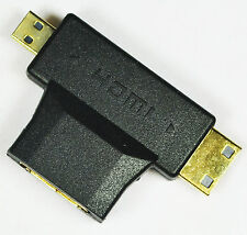 HDMI Female (Type A) to Mini Male Type C + Micro Male Type D Splitter Adapter