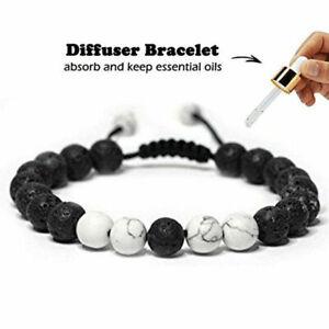 Adjustable Lava Howlite Bracelet Essential Oil Anxiety Stress Ladies Men's Gift