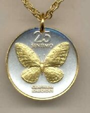 Philippines 25 Sentimos Butterfly Coin Gold on Silver Pendant + Necklace Gift