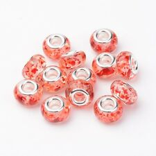 10PCS Resin European Beads Large Hole Rondelle Beads Silver Cores Mixed Color