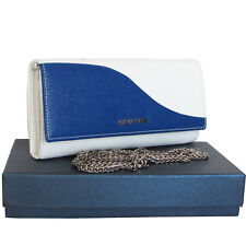 CROMIA Made in Italy women's blue and white leather wallet purse mini clutch bag