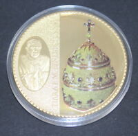 Tiara Papalis Pope Benedict XVI Cu Gold-plated with Red Garnet Coin