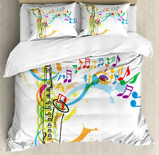 Colorful Duvet Cover Set with Pillow Shams Saxophone Wavy Notes Print