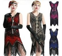 1920s V Neck Sequins Beaded Fringe Vintage Evening Long Prom Flapper Dress
