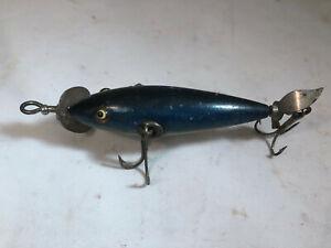 Vintage Pflueger Neverfail Blue Gold 3 Hook Glass Eyes Propellors Minnow Lure