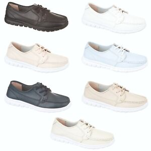 Ladies Shoes Leather Boat Loafers Deck Shoe Comfort Fit Lace Up Womens Size NEW