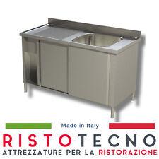 Lavatoio Lavello ARMADIATO inox 1 vasca + sgocciolatoio SINISTRO Cm. 120x70x85H.