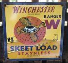 VINTAGE 1947 DATED WINCHESTER RANGER SKEET LOAD PORCELAIN SIGN AMMO AMMUNITION