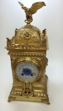 Antique 8 day Striking Brass Ornate Mantel Clock Blue Enamel +Key & Pendulum