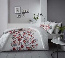 floral style aquarelle Rouge Mélange de coton Housse de couette King-size