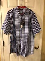 Mens Galaxy By Harvic 5XL S/ Sleeve Button Down Shirt Blue /White Plaid  NWT
