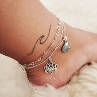 Bohemian Hollow Heart Chain Anklets Set Vintage Charm Carved Lotus Flower Shell