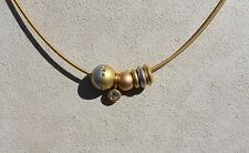 BUNZ Wire Necklace w Removable Slides,18k Gold, Platinum & Diamond