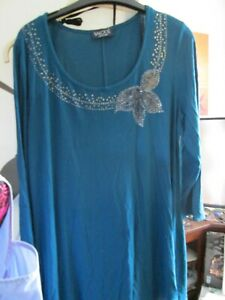 Saloos Collection 3/4 Sleeve Stretchy Dress / top UK 20 Blue loose fit frock  L