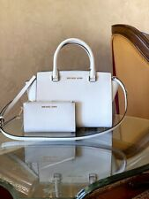 NWT Michael Kors Medium studded Selma Leather Satchel/Wallet optic white