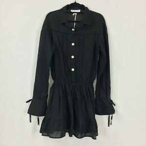 Maurie & Eve Acadia Black Flare Sleeve Ruffle Hem Shirt Dress Size 10