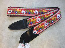 JODI HEAD Handmade Woven Guitar Strap / HOOTENANNY #2 Mixed Flowers Red