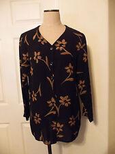Jones New York 100% Silk Black Tan Flower Print Long Sleeve V-Neck Blouse 10