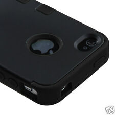 APPLE iPHONE 4 4S MULTI LAYER TUFF HYBRID CASE ACCESSORY SOLID BLACK