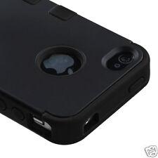 APPLE iPHONE 4 4S MULTI LAYER TUFF HYBRID CASE ACCESSORY SOLID BLACK