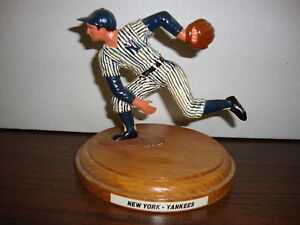 """David Cone Figure On Wood Base---Hand Made---Hand Painted---Late 1980's--5"""" Tall"""