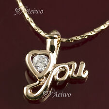 9K GF ROSE GOLD MADE WITH SWAROVSKI CRYSTAL LOVE YOU HEART PENDANT NECKLACE