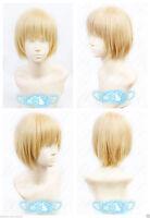 Attack on Titan Armin Arlert Short Warm Blonde Cosplay Anime Wig+ free wig cap