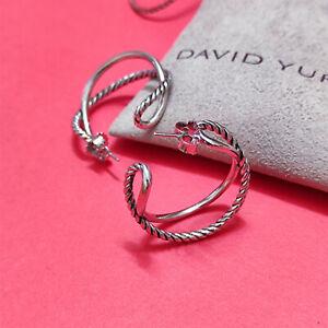 David Yurman Classic Cable Hoop Earrings Sterling Silver 925