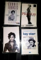 4 1990'S CASSETTE TAPES BUNDLE JOB LOT, CONNIE FRANCIS, KAY STARR,PEGGY LEE