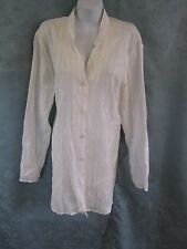 Susan Graver Style Tunic Shirt Size Large Embroidered Sheer Metallic Stripe NWT