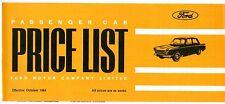 Ford Price List October 1964 UK Brochure Anglia Cortina Corsair Zephyr Zodiac